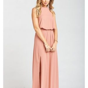 Haltered maternity bridesmaid dress